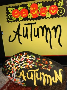 Autumn Leaves Painted Rock